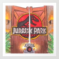 jurassic park Art Prints featuring Jurassic Park by Humble Dino
