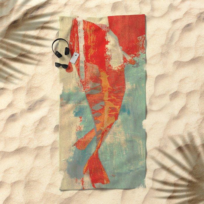 穏やかな海で泳ぐ (Swimming in Calm Waters) Beach Towel