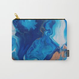 Fluid Nature - Blue Smoke - ABstract Acylic Pour Art Carry-All Pouch