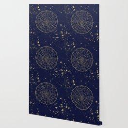 Metallic Gold Vintage Star Map 2 Wallpaper
