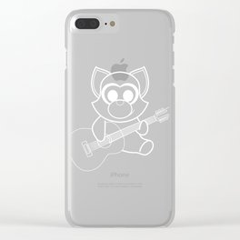 A cute illustration of a Racoon Playing Guitar at Night White Cute Strum Music Gitarist Pluck Clear iPhone Case