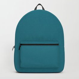 Profound Tranquility Dark Aquamarine Blue Green Solid Color Pairs To Sherwin Williams Great Falls SW 6495 Backpack