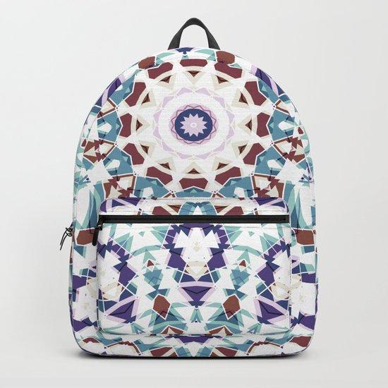 White, brown , blue kaleidoscope . Backpack