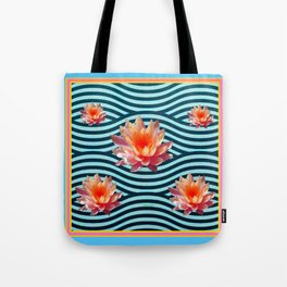 Peach Color Water Lily Water Garden Tote Bag