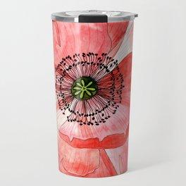 Pink Poppy Flower Travel Mug