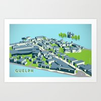 Aerial View of Guelph - daytime Art Print