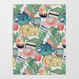Lazy Afternoon - a chalk pastel illustration pattern Poster
