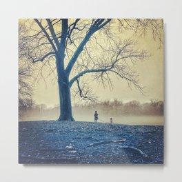 Girl, dog and tree Metal Print
