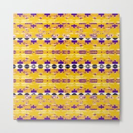 yellow aztec geo mix Metal Print