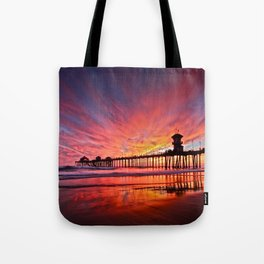Sunset Huntington Beach Pier CA   Tote Bag