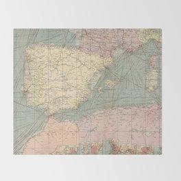 Vintage Map of The Eastern Mediterranean Ports (1905) Throw Blanket
