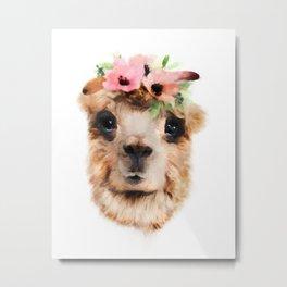 Llama with Flower Crown, Nursery Print Metal Print