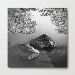 Stones water and leaves Metal Print