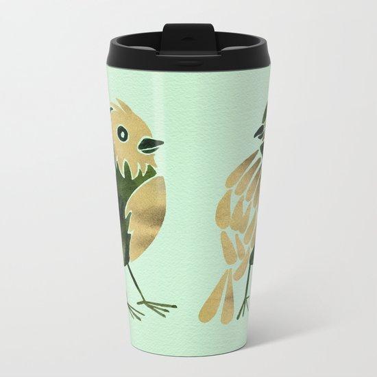 24-Karat Goldfinches Metal Travel Mug