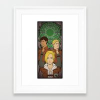 shingeki no kyojin Framed Art Prints featuring Shingeki no Kyojin - Trio card by kamikaze43v3r