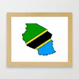 Tanzania Map with Tanzanian Flag Framed Art Print