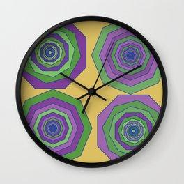Unbalanced octagon yellow Wall Clock