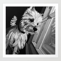 westie Art Prints featuring Westie by mothermary