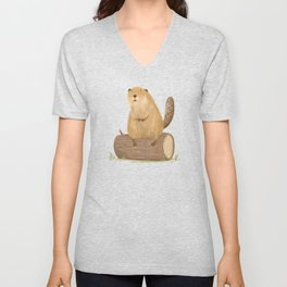 Beaver on a Log Unisex V-Neck
