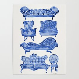 Victorian Lounge – Navy Palette Poster