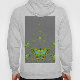 BLUE-GREEN-YELLOW PATTERNED MOTHS ON GREY Hoody