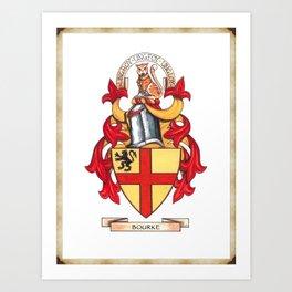 Bourke Family Coat of Arms Art Print
