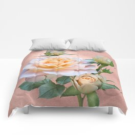 Peach Rose with Buds Comforters