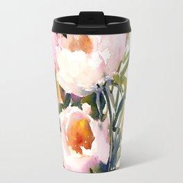 Soft Pink Peonies Asian watercolor Peonies, soft pink, olive green Travel Mug
