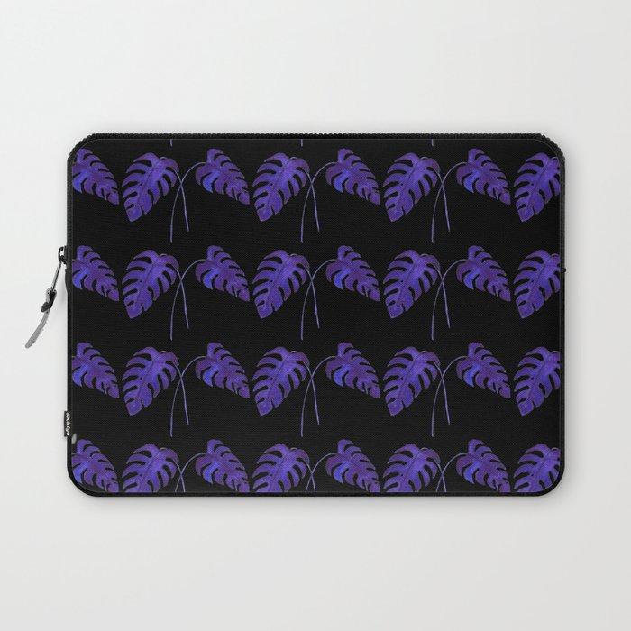 Indigo Monstera Leaf Watercolor on Black Laptop Sleeve