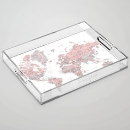 Explore - Dusty pink and grey watercolor world map, detailed Acrylic Tray