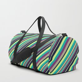 Summer Flowers Inclined Stripes Duffle Bag