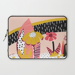 Collage Flowers pink, gold, white, black Laptop Sleeve