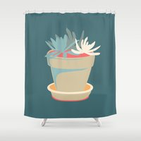 succulent Shower Curtains featuring Succulent by Rabbits In The Sky