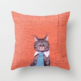 the stylish cat Throw Pillow