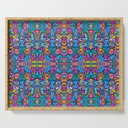 Crowd of aliens coming from a distant planet rich in doodle art style creatures Serving Tray