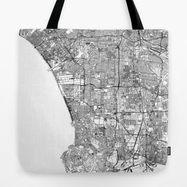 Los Angeles White Map Tote Bag