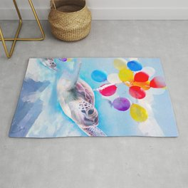 Cute Turtle Flying With Balloons Rug