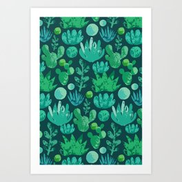 Watercolor succulents and cactus Art Print