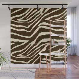 ANIMAL PRINT ZEBRA IN WINTER 2 BROWN AND BEIGE Wall Mural