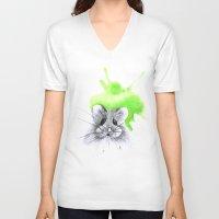 hamster V-neck T-shirts featuring green hamster by Konstantina Louka