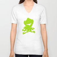 kermit V-neck T-shirts featuring Pochoir - Kermit by Krikoui