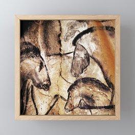 Facing Horses // Chauvet Cave Art Framed Mini Art Print