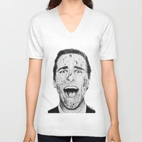 american psycho V-neck T-shirts featuring American Psycho by Aoife Rooney Art