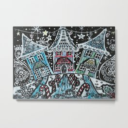 Christmas Snow Village on Black Metal Print