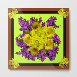 Chartreuse Design Daffodils Purple Hyacinths Brown Art Metal Print