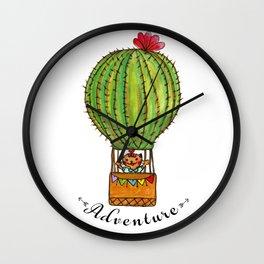 Ms Neko in cactus hot baloon Wall Clock