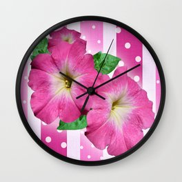 Petunias on Stripes Wall Clock