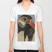 puffin V-neck T-shirts featuring Puffin  by EmilyGrantDesign