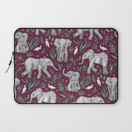 Baby Elephants and Egrets in Watercolor - burgundy red Laptop Sleeve