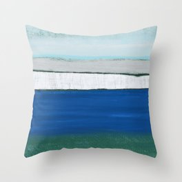 Dover, England, Abstract in Pastel Blue, Grey, Green.  Digital Art Throw Pillow